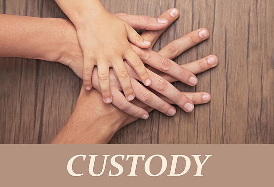 hands of different family members with the word custody
