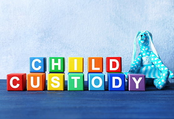 colorful blocks that spell out child custody next to a stuffed animal