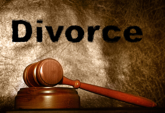 gavel in front of divorce sign